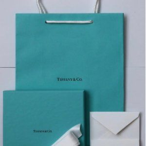 Tiffany & Co. Blue Paper Gift Box + Bag + Card Set